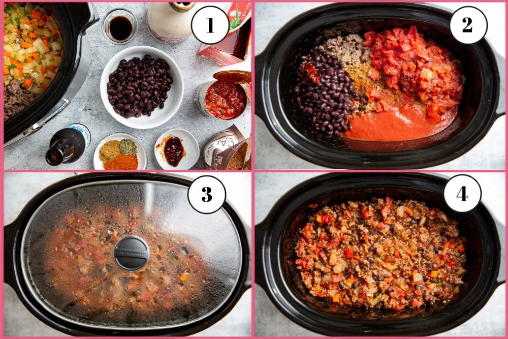 Process shot divided into four quadrants showing the steps for making beef chili in the slow cooker.