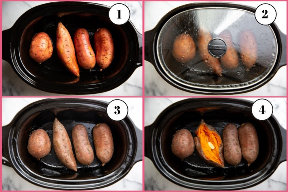 Process shot divided into four quadrants, showing how to cook sweet potatoes in the slow cooker.