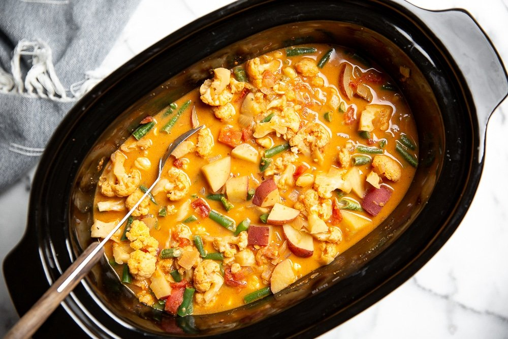 Overhead shot of the massaman curry in a slow cooker.
