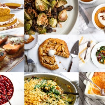 Gluten free recipes for Thanksgiving arranged in a grid.