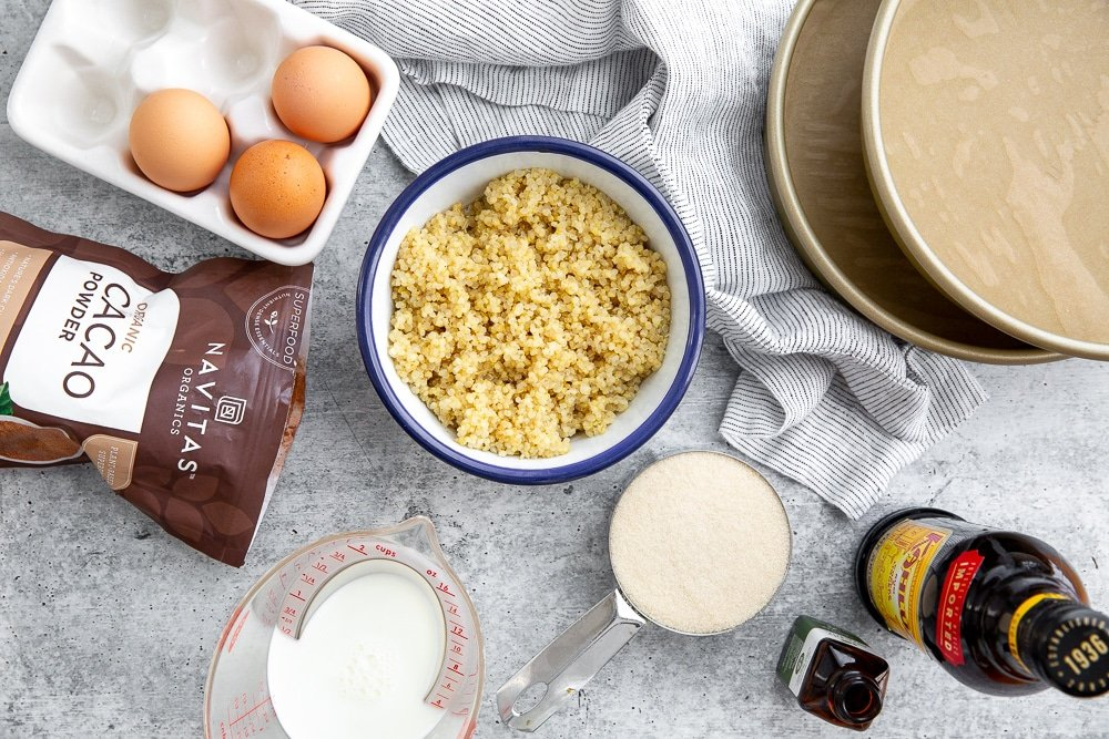 Overhead shot showing all of the  ingredients for chocolate quinoa cake recipe.
