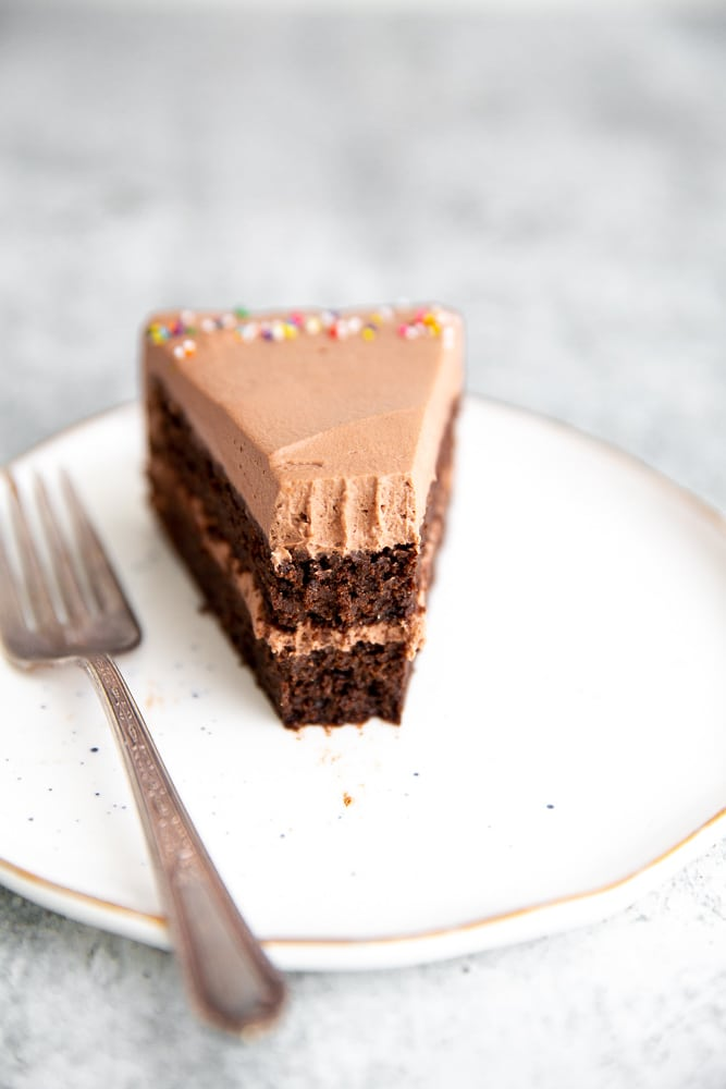 Close up of a piece of cake with a bite taken out.