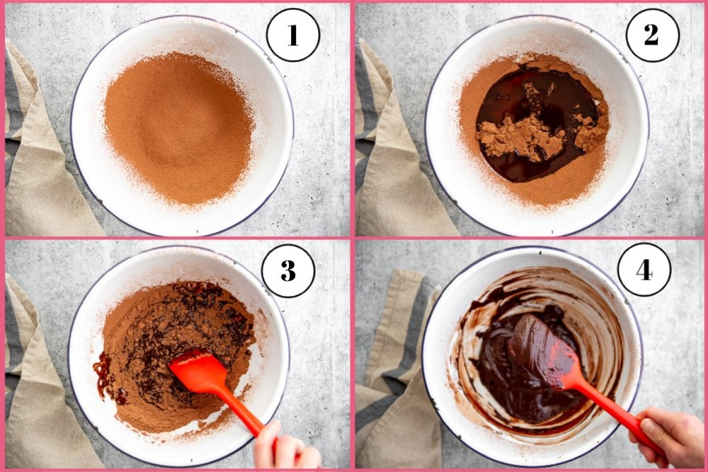 Process shot divided into four quadrants showing how to make the cacao frosting for the black bean brownies recipe.