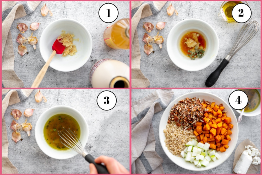 Process shot divided into four quadrants showing how to make the roasted garlic dressing for the squash salad.