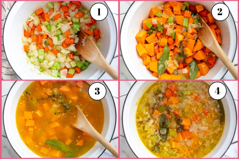 Process shot divided into four quadrants showing the steps for making vegetable potage soup.