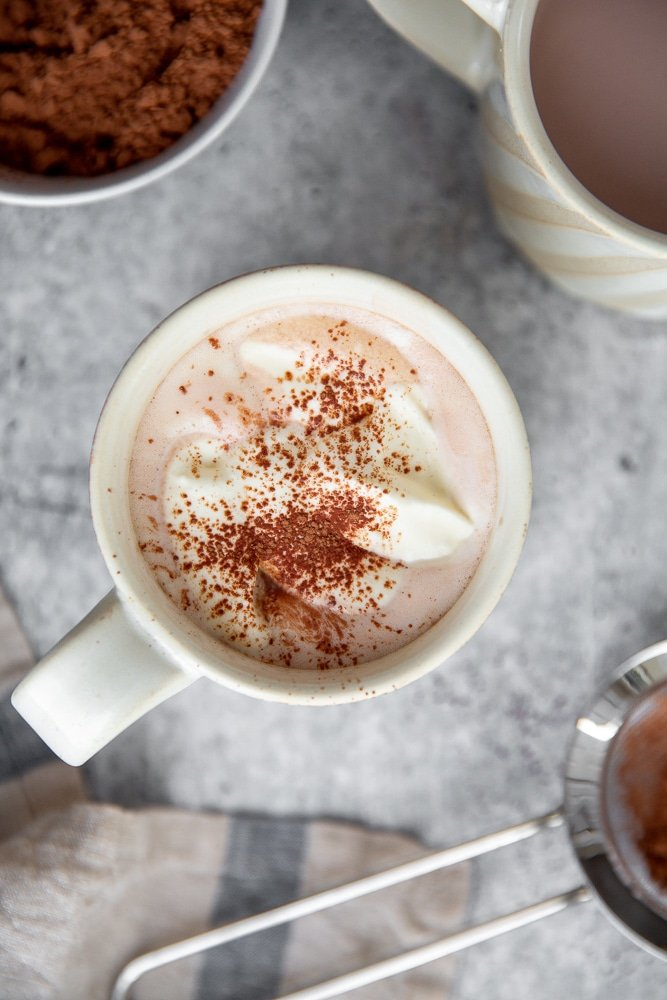 Close-up overhead shot of a mug of cacao powder hot chocolate.