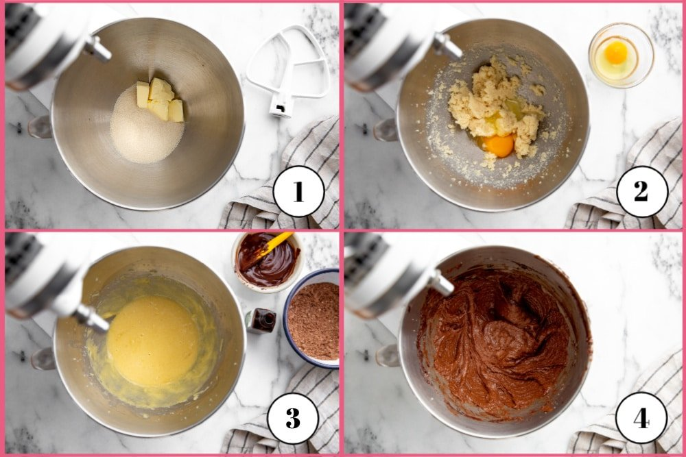 Process shot divided into four quadrants showing the steps for making the chocolate crackle cake batter.
