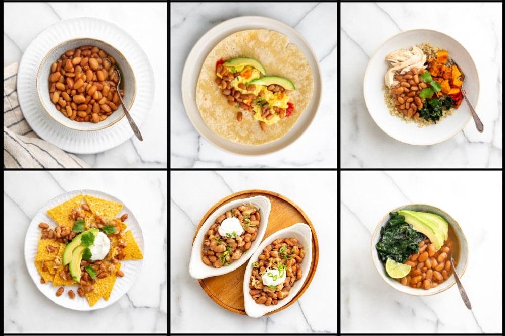 Photo grid showing six ways to serve Instant Pot pinto beans.