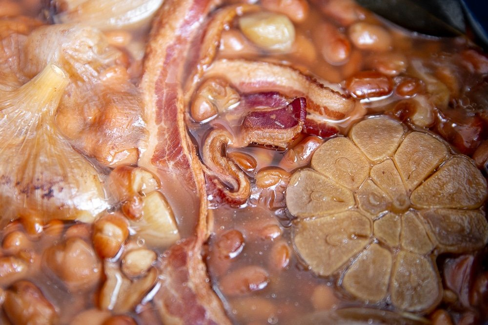 Close up of pinto beans in an Instant Pot.