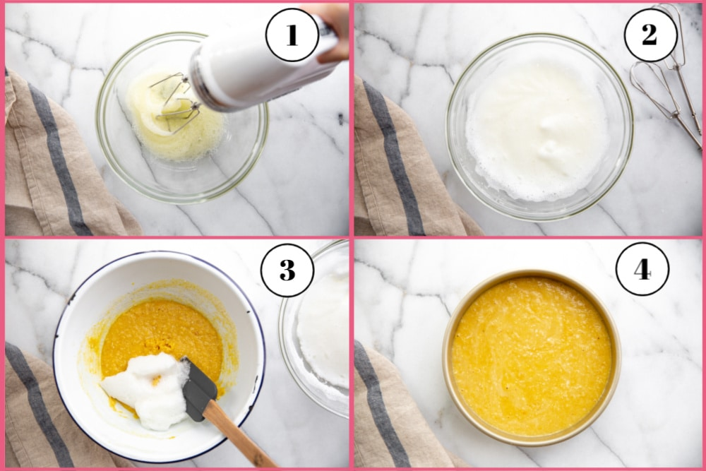 Process shot divided into four quadrants showing how to beat egg whites to soft peaks and how to fold it into the batter.