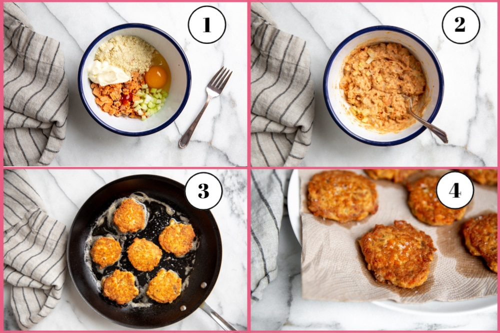 Process shot divided into four quadrants showing the steps for making salmon cakes.