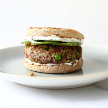 Quinoa burger on a plate