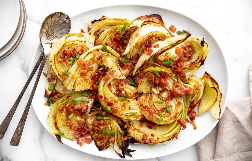 Roasted Cabbage Wedges (plus a Warm Bacon Vinaigrette!)
