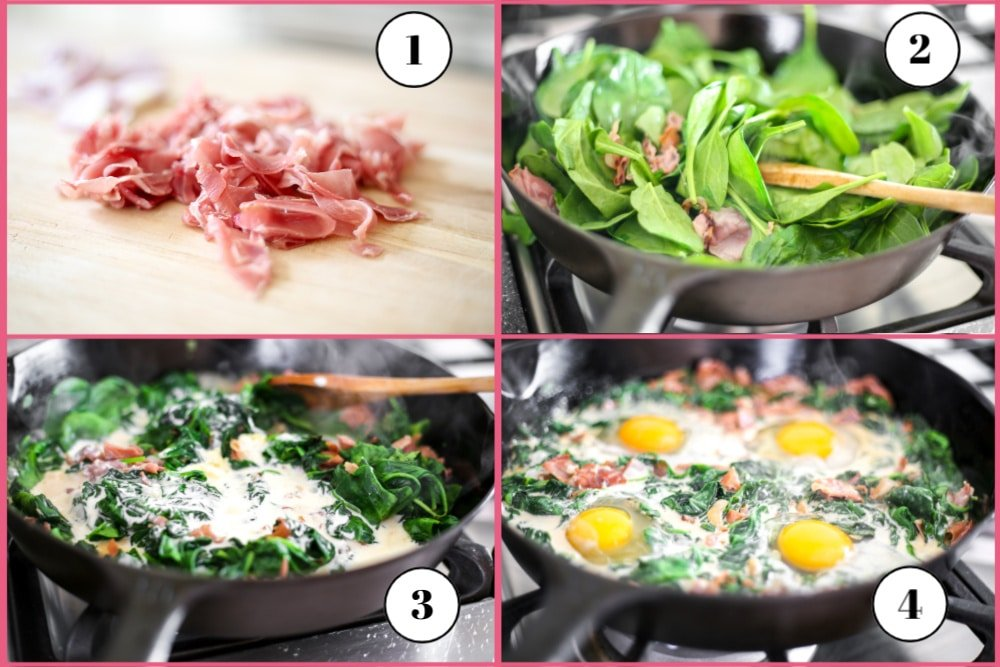Process shot divided into four quadrants, showing how to make spinach baked eggs.