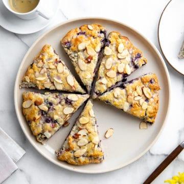 Overhead shot of a platter of gluten free blueberry scones.