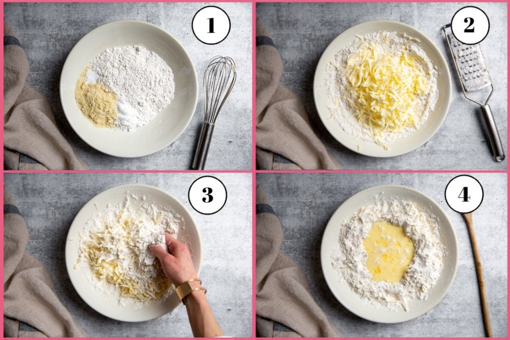 Process shot divided into four quadrants showing the first four steps for making the easy shortcake recipe.