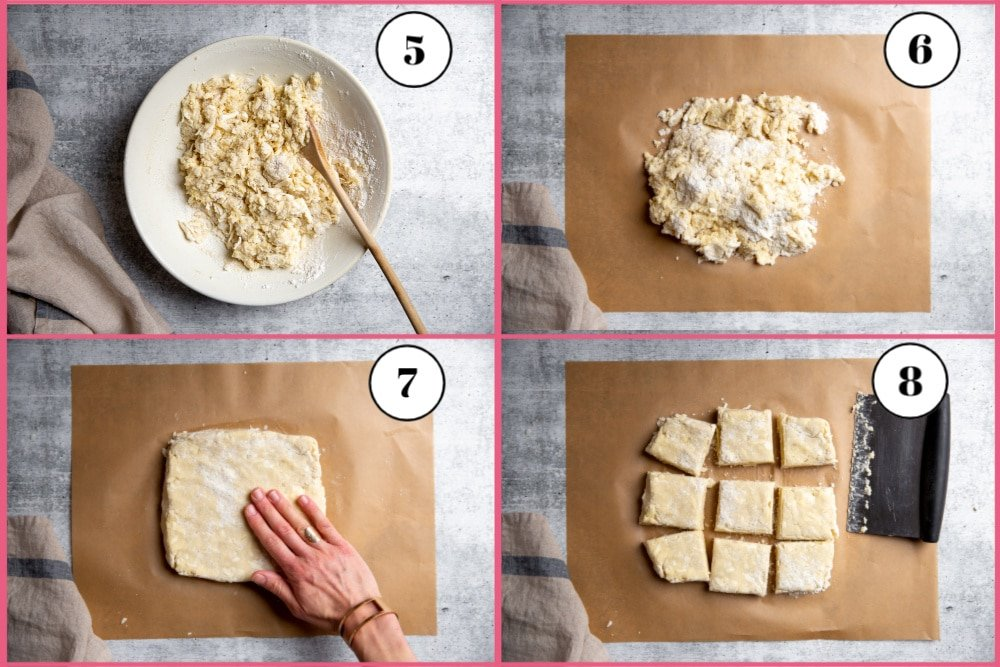 Process shot divided into four quadrants showing the last four steps for making the easy shortcake recipe.