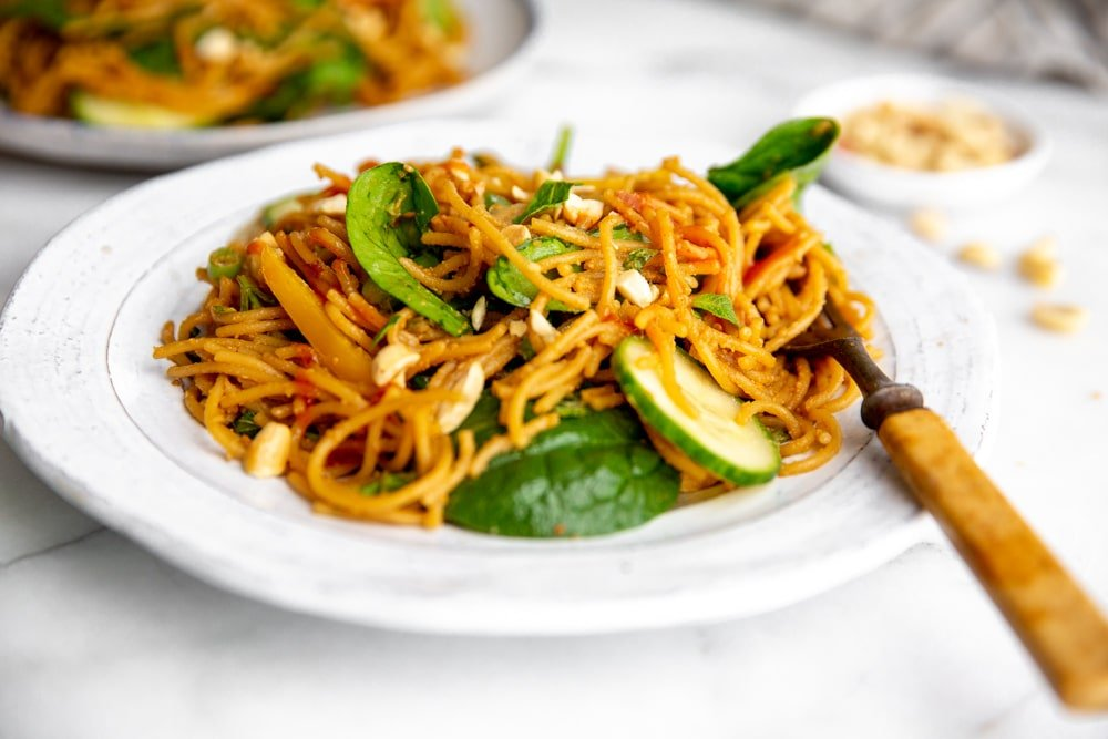 Plate of Thai peanut noodle salad with a fork.