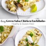 Green salsa chicken enchiladas on a plate.