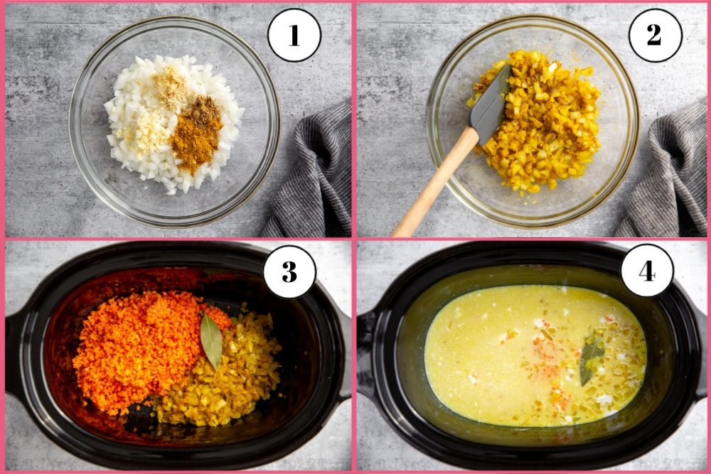 Process shot divided into four quadrants showing the steps for making the slow cooker dal recipe.