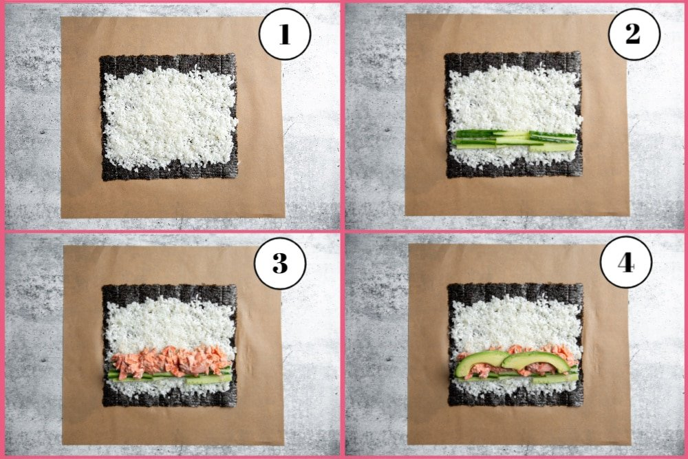 Process shot divided into four quadrants showing the steps for making the spicy salmon sushi burrito recipe.