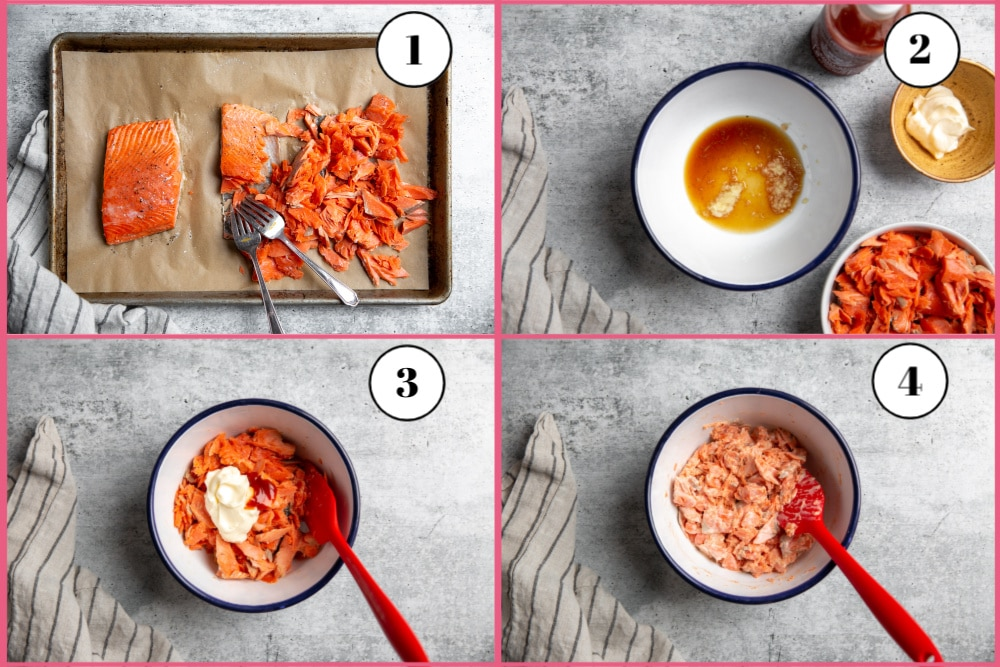 Process shot divided into four quadrants showing the steps for making the spicy salmon sushi filling recipe.