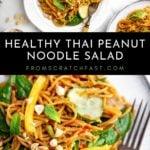 Cold Thai peanut noodle salad on a plate.