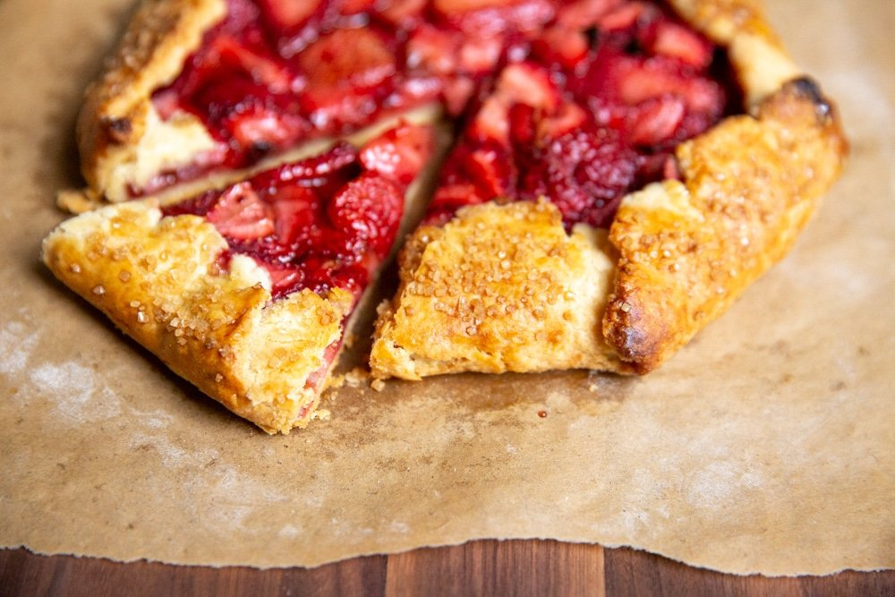 Close up of a berry galette made with gluten free pie crust.