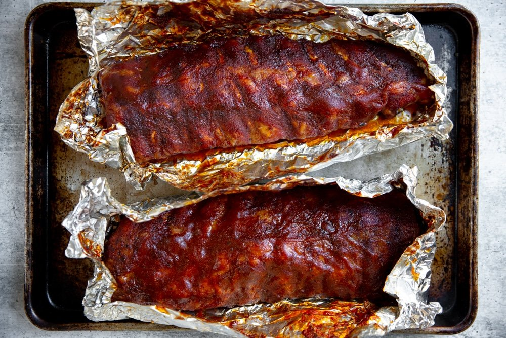 Overhead shot of smoked ribs after they come off the smoker.