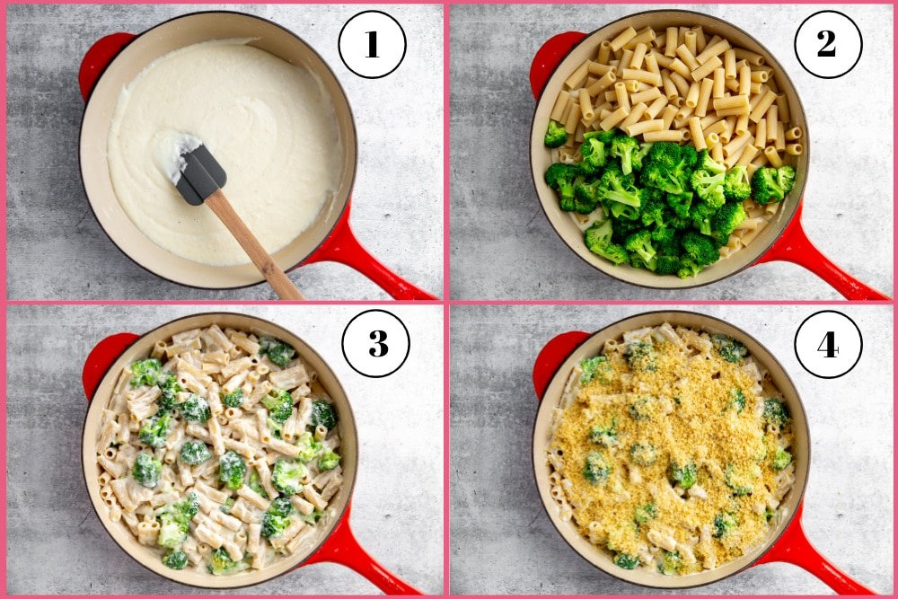 Process shot showing the steps for assembling the creamy pasta bake.