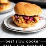 Slow cooker pulled pork sandwich.