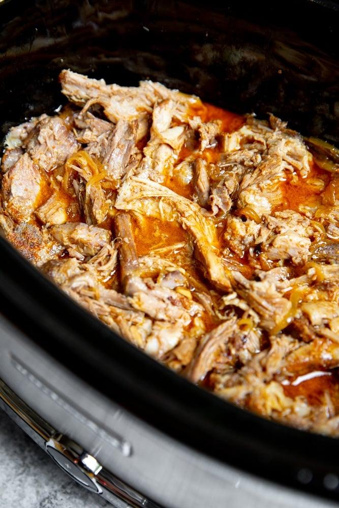 Honey bbq pulled pork in a crockpot.
