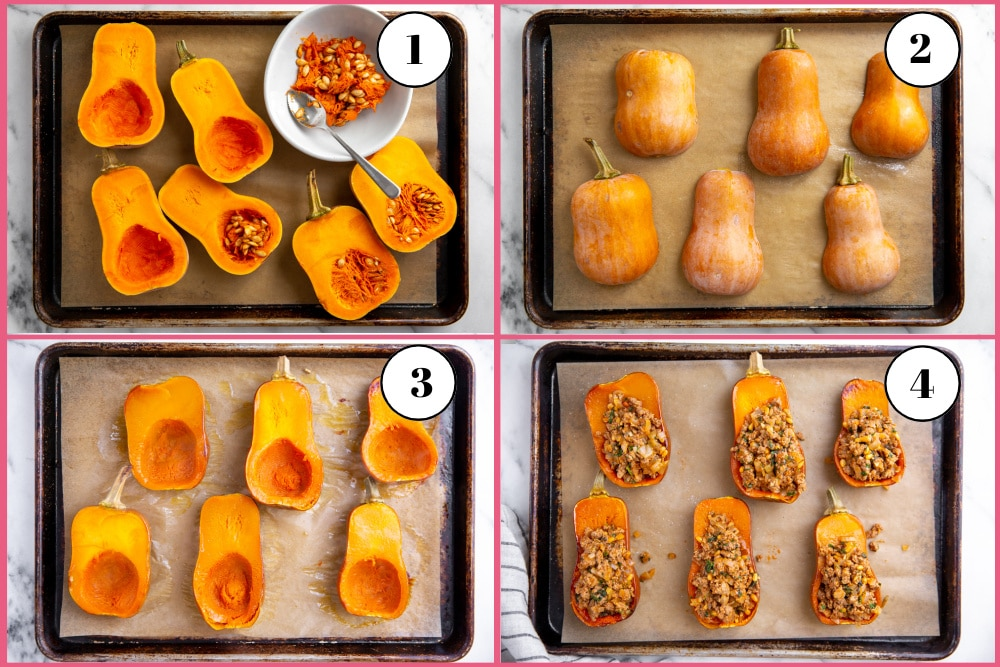 Process shot divided into four quadrants showing how to roast honeynut squash.