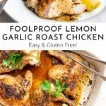 Lemon roast chicken in a baking dish.