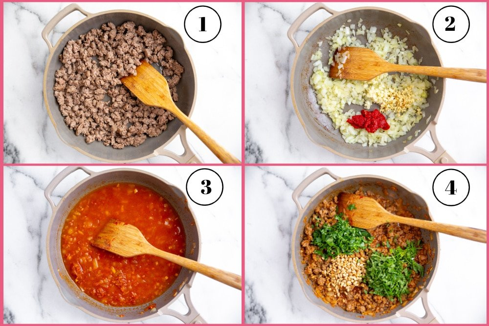 Process shot divided into four quadrants showing how to make Moroccan lamb filling.
