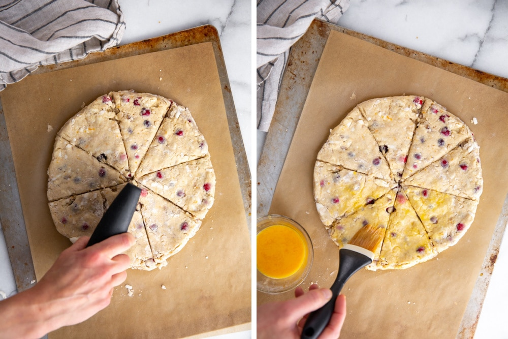 Process shot divided into two quadrants showing how to cut the scone dough and brush it with egg wash.