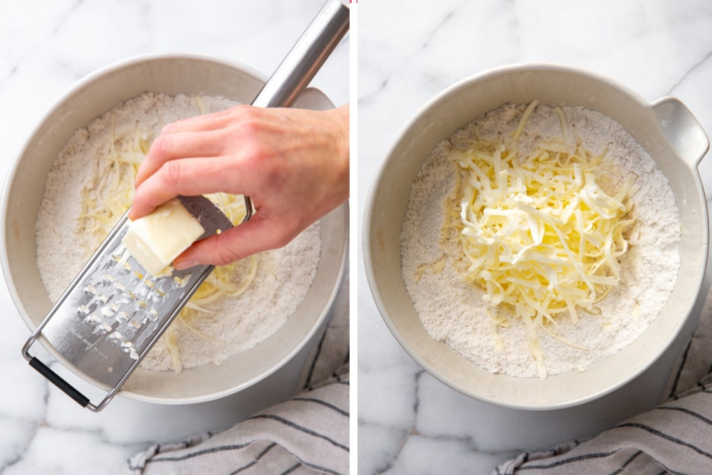 Process shot divided into two quadrants showing how to grate butter into the flour mixture.