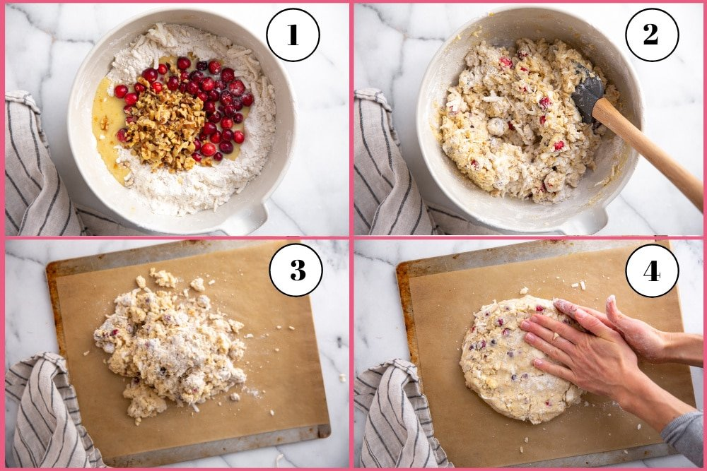 Process shot divided into four quadrants showing how to mix the cranberry scone dough and shape it on the baking sheet.