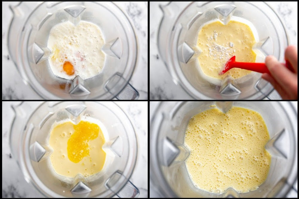 Process shot divided into four quadrants showing how to make the crepe batter in a blender.