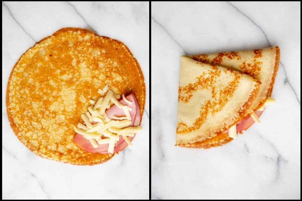 Process shot divided into two quadrants, showing how to fill a crepe with ham and cheese then fold it.