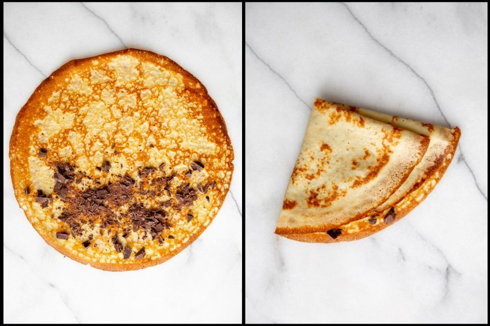 Process shot divided into two quadrants showing how to fill a crepe with chopped chocolate.