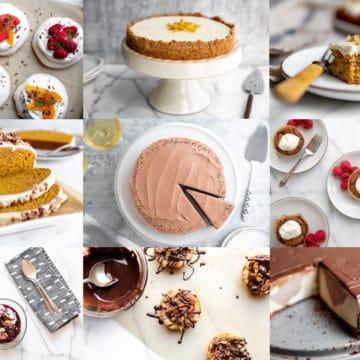 Grid showing nine different gluten free holiday desserts.