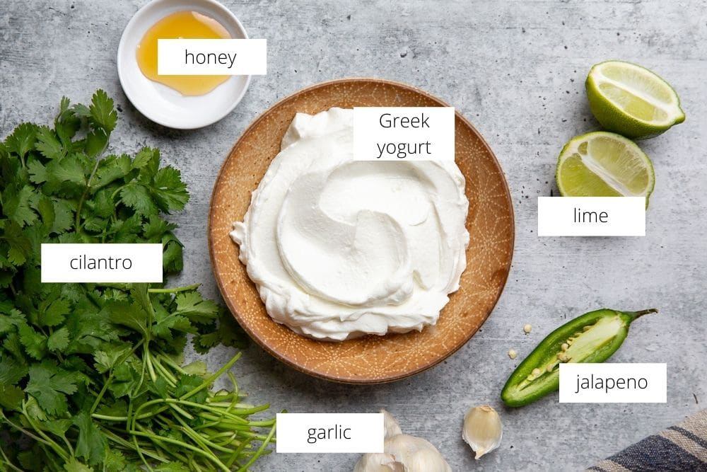 All of the ingredients for the cilantro sauce arranged on a work surface.