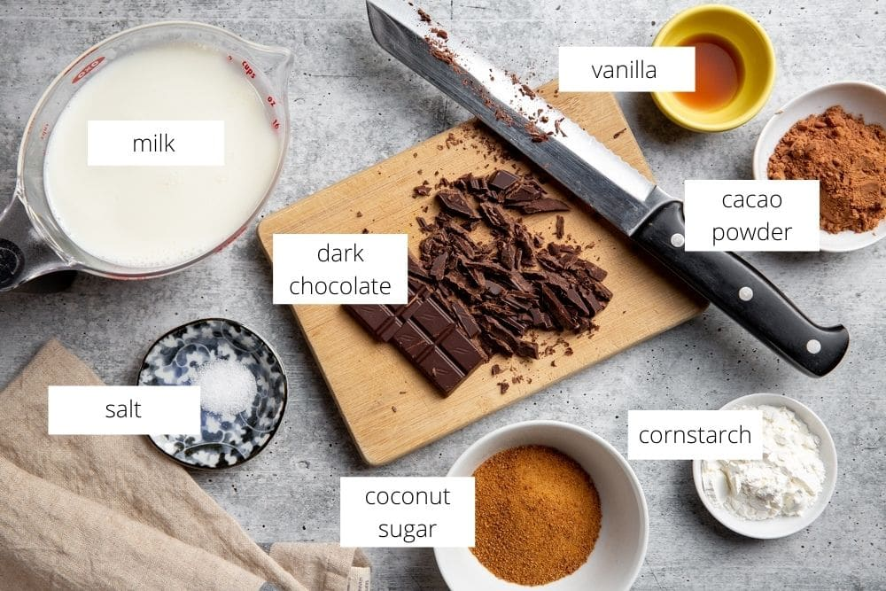 All of the ingredients for the homemade chocolate pudding recipe arranged on a work surface.