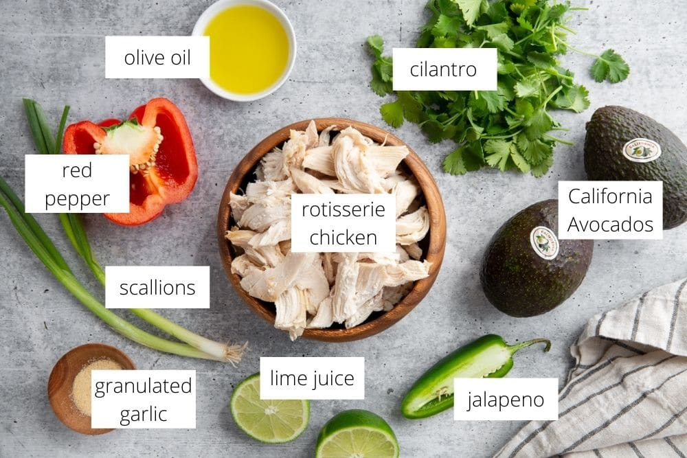 The ingredients for the avocado chicken salad recipe arranged on a surface and labeled.