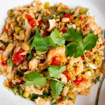 A bowl of salmon fried rice topped with cilantro.
