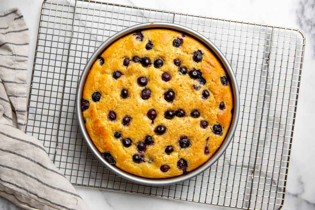 The baked blueberry yogurt cake on a cooling rack.