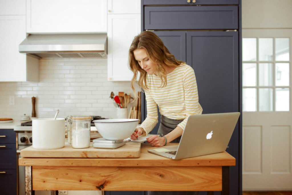 Nicki Sizemore testing a recipe in her kitchen.