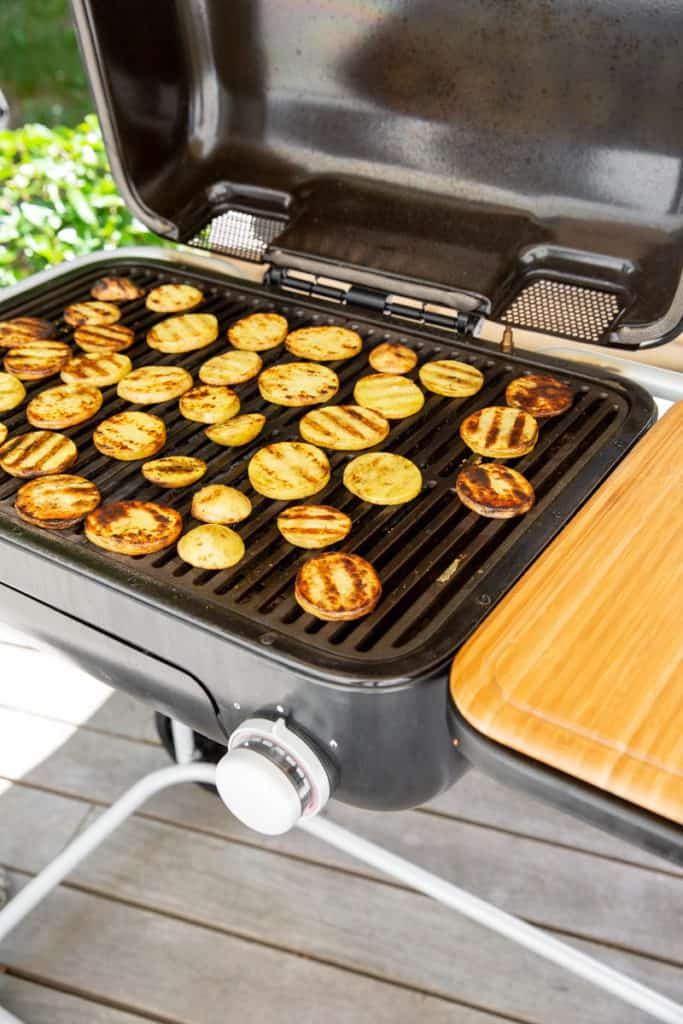 Potatoes cooking on a Spark Grill.