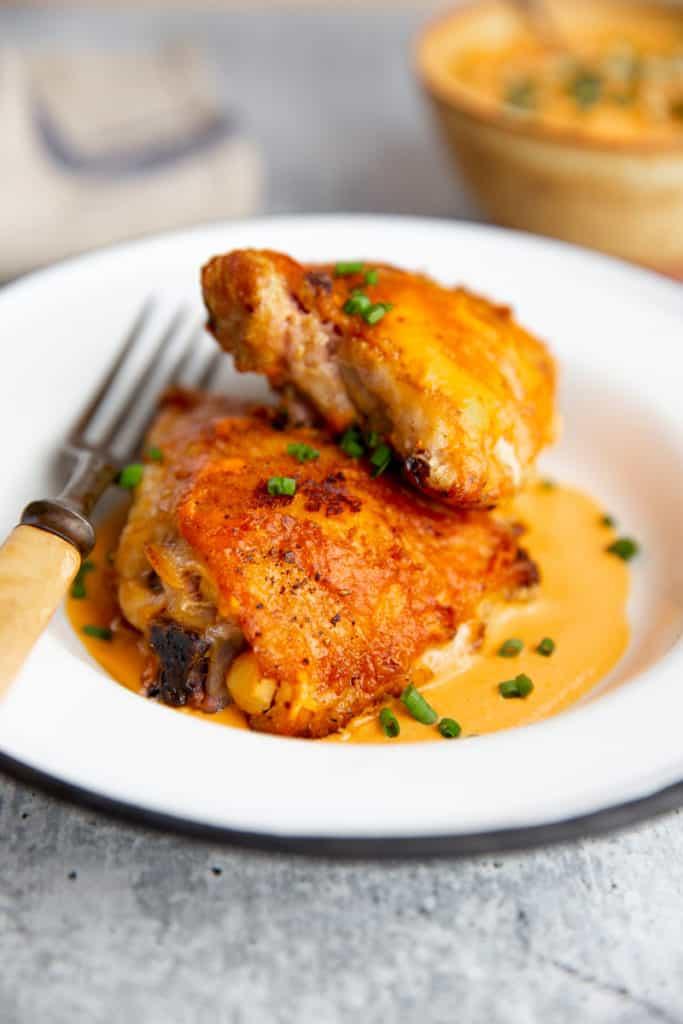Romesco sauce chicken on a plate.